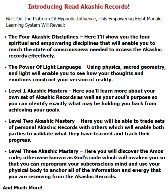 Built On The Platform Of Hypnotic Influence, This Empowering Eight Module Learning System