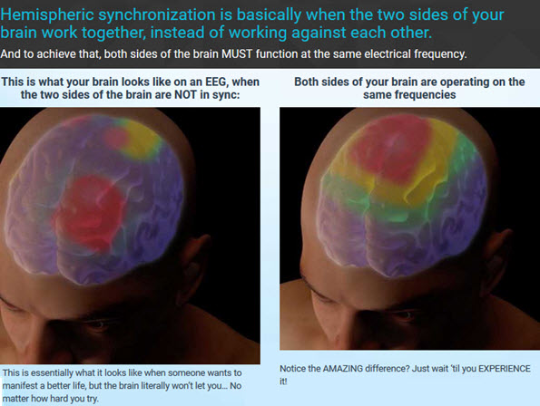 Hemispheric synchronization is basically when the two sides of your brain work together, instead of working against each other.