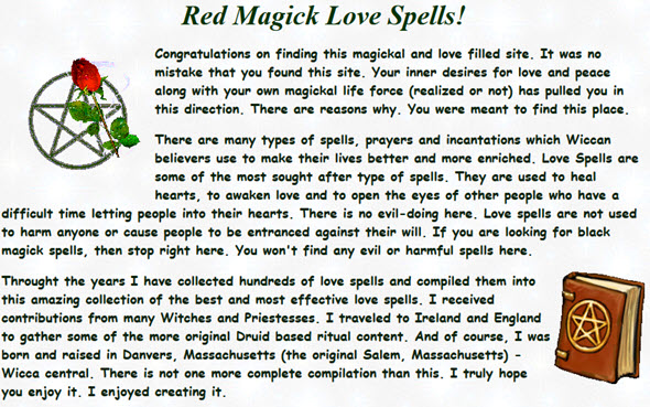 Hundreds of love spells to browse through and enjoy