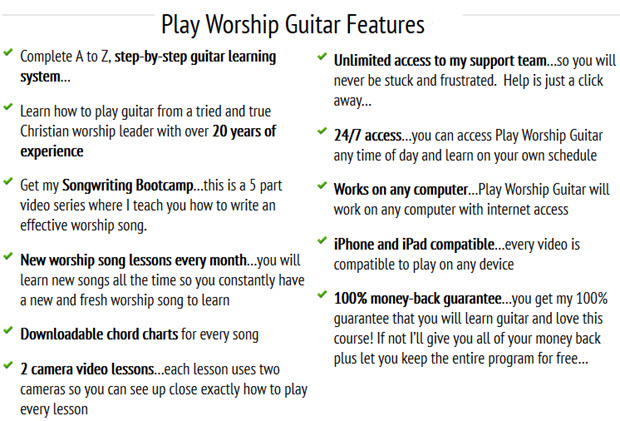 Play Worship Guitar Features