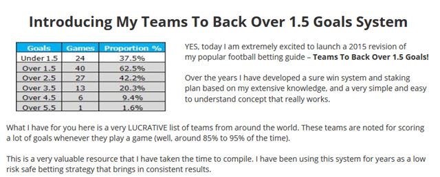 Teams To Back Over 1.5 Goals System