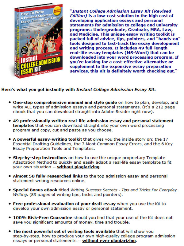 Instant College Admission Essay Kit