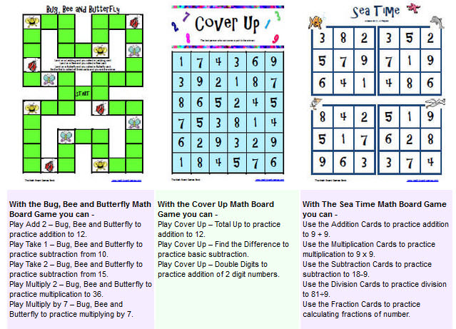 Printable Math Board Games for Fun Math Practice
