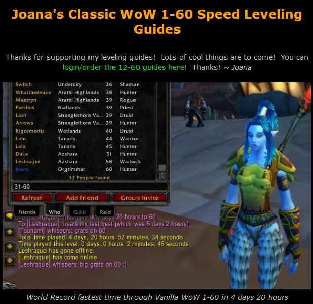 Joana's Classic WoW 1-60 Speed Leveling Guides