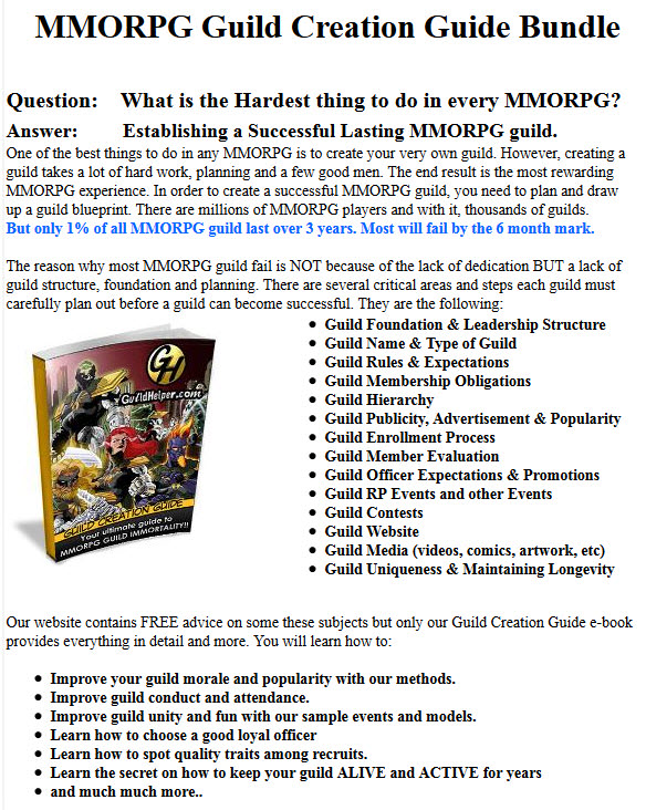 MMORPG Guild Creation Guide Bundle