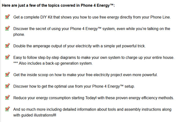 free energy directly from your Phone Line