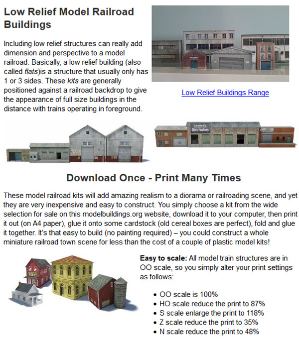 Low Relief Model Railroad Buildings