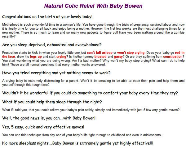 Natural Colic Relief With Baby Bowen