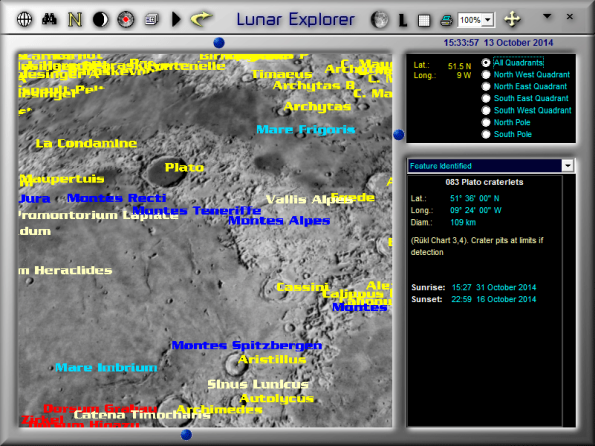 Labelled lunar features