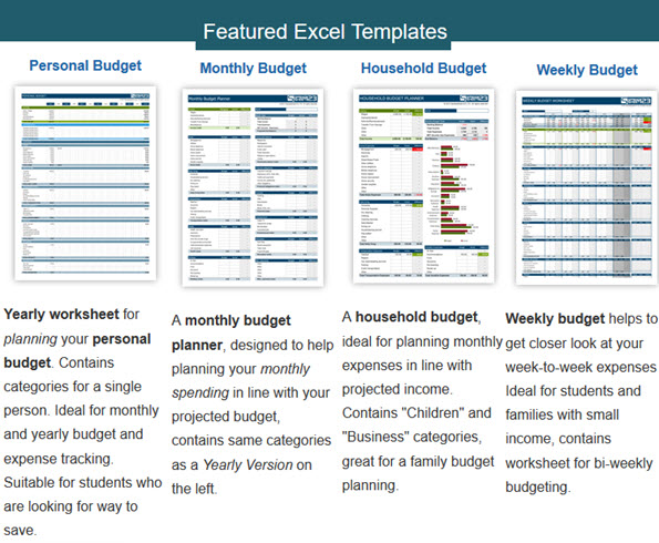 Featured Excel Templates Personal Budget