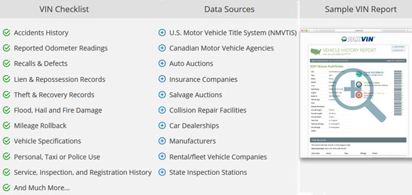 Lookup Vehicle History Report and VIN Check